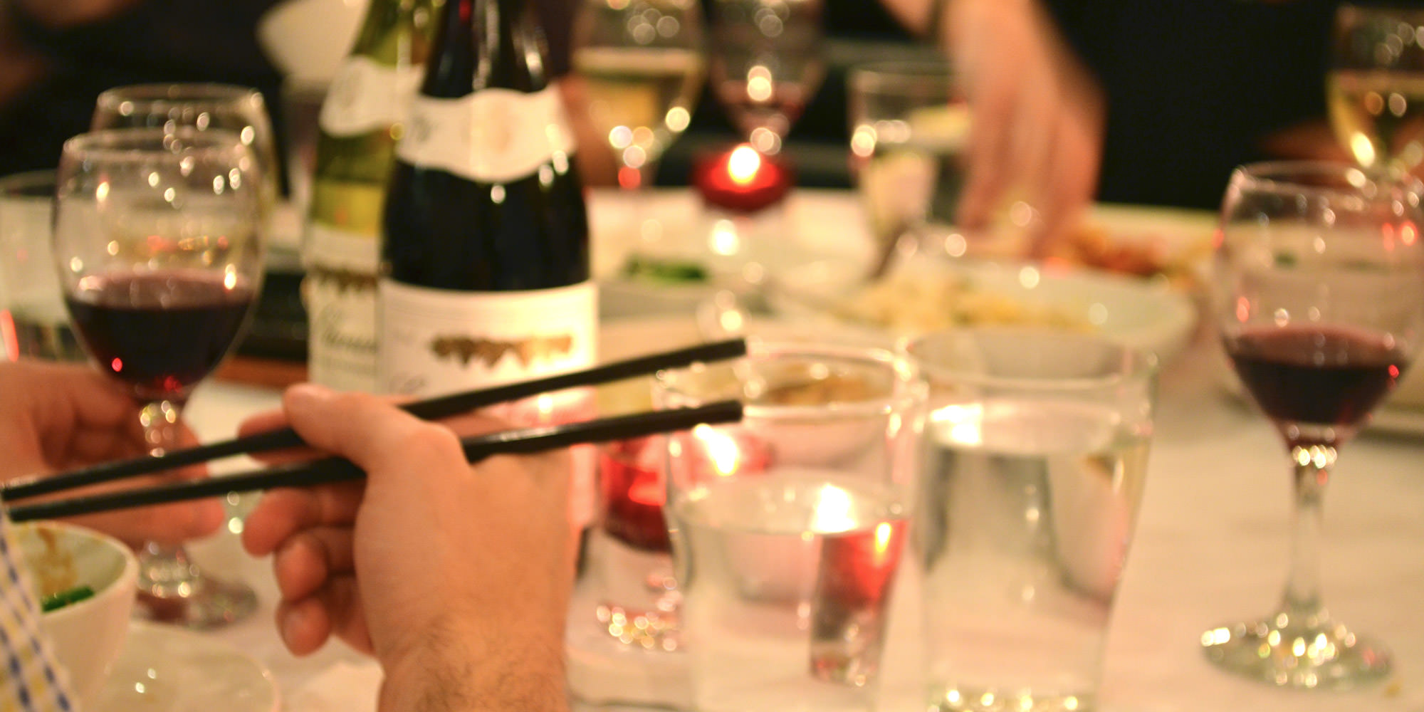 A photograph of a table during a party at the Naturally Chinese Restaurant, Surbiton, Surrey